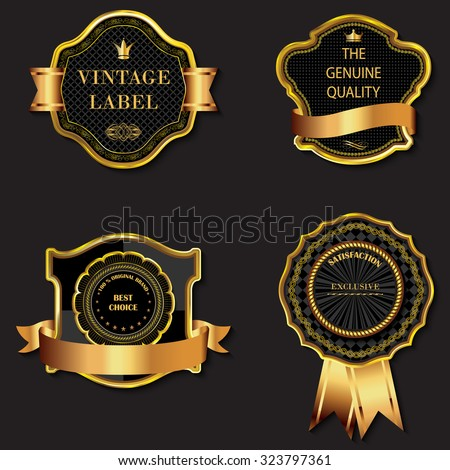 Set of vector golden decorative ornate black golden-framed labels. - stock vector