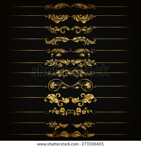 Set of vector golden floral filigree dividers. Floral decorative elements, borders for page, web site decoration. Vector illustration EPS 10. - stock vector