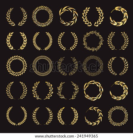 Set of vector golden laurel wreaths. Vintage designs. Leaves and branches round frames. Black back. - stock vector