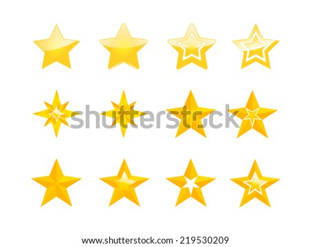 Set of vector golden stars - stock vector