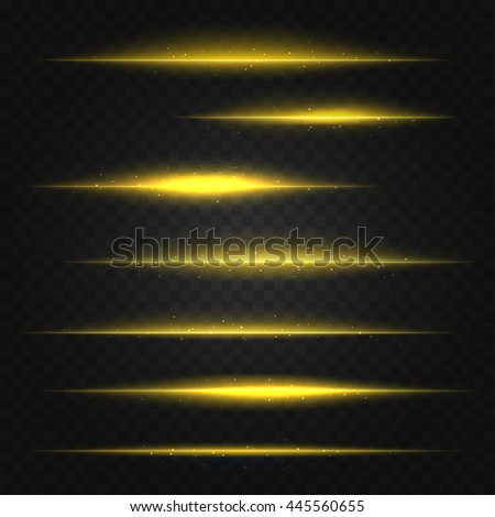 set of vector golden yellow lens flares on transparent background - stock vector
