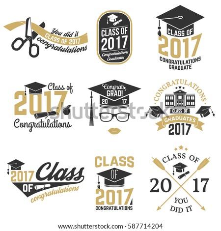 set vector graduates class 2017 badges stock vector