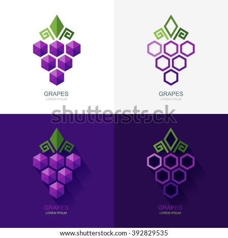 Set of vector grapes logo, icon, label elements. Flat grape isolated symbol. Geometric shape grapes vine made from hexagons. Concept for winery, wine menu. Alcohol drinks and food technology. - stock vector