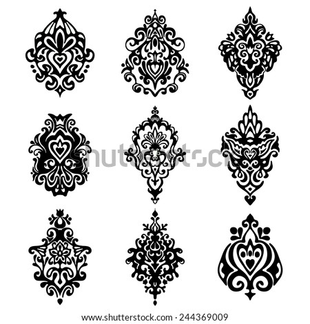 set of vector graphic abstract damask flower ornamental designs  - stock vector