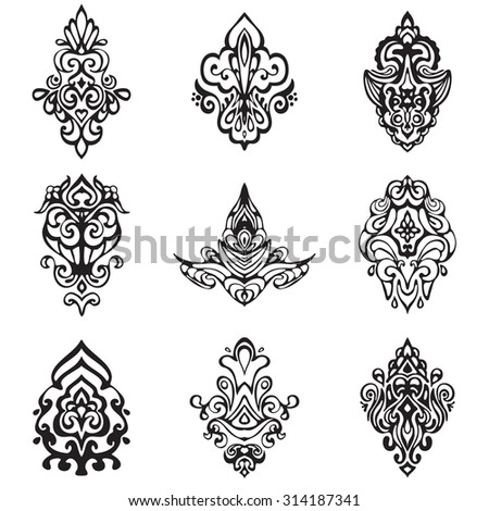 set of vector graphic abstract damask flower ornamental designs. Luxury royal  pattern. Vintage design ornamental elements. - stock vector