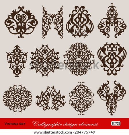 Set of 12 vector graphic elements for design on a background.  EPS