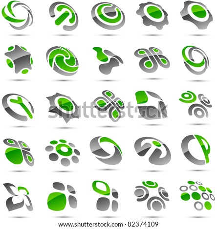 Set of vector  green abstract signs. - stock vector