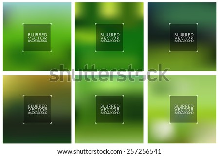 Set of vector green blurred backgrounds for design and web. - stock vector