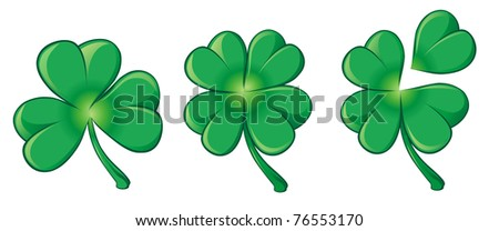 set of vector green clover leaf - stock vector