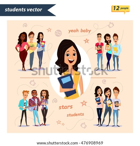 Set of vector group of students with books and gadget isolated on background. Different nationalities and dress styles. Cute and simple flat cartoon style. young guys and girls. students characters.