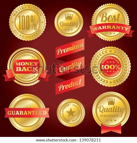 Set of vector guarantee and warranty labels and badges. EPS 10. - stock vector