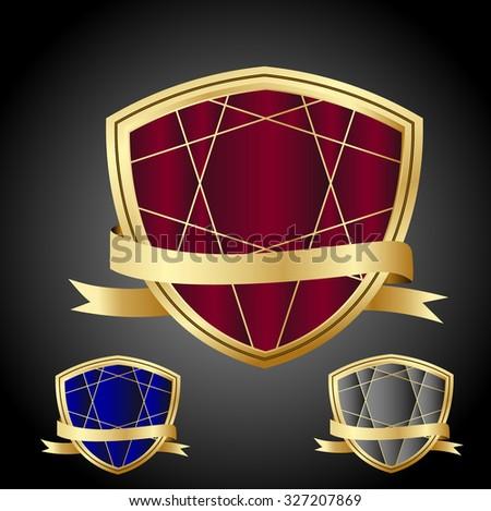 set of vector guaranteed shield/award red,blue,gray color gold border icon. - stock vector