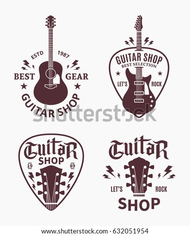 Set Of Vector Guitar Shop Logo Music Icons For Audio Store Branding Poster