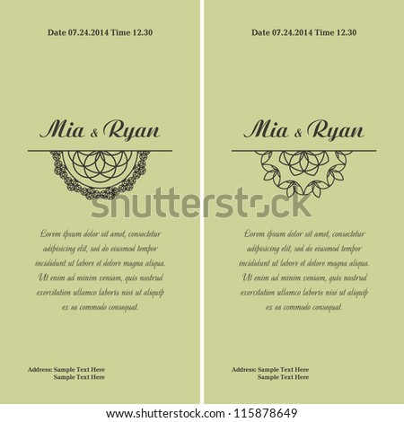 Set of Vector Half Ornament Frame. Background of color of a mint. Grouped for easy editing. Perfect for invitations or announcements. - stock vector