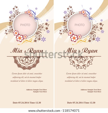 Set of Vector Half Ornament Frame. Background of color of a peach with frame for photo. Grouped for easy editing. Perfect for invitations or announcements. - stock vector