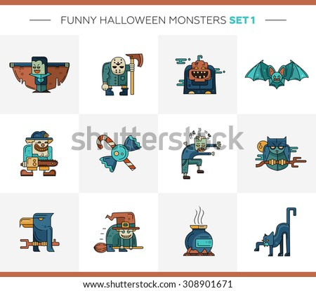 Set of vector Halloween line flat design modern icons and characters. Funny scary personages.  - stock vector