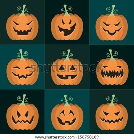 set of vector Halloween pumpkins