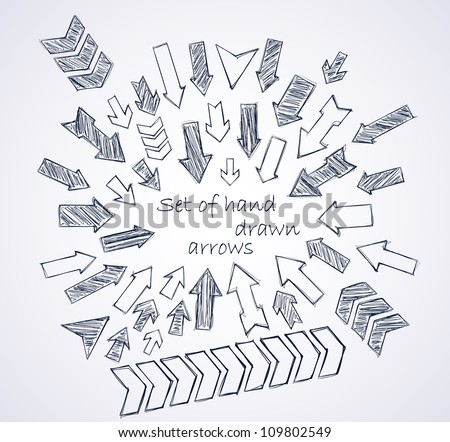 Set of vector hand drawn arrows - stock vector