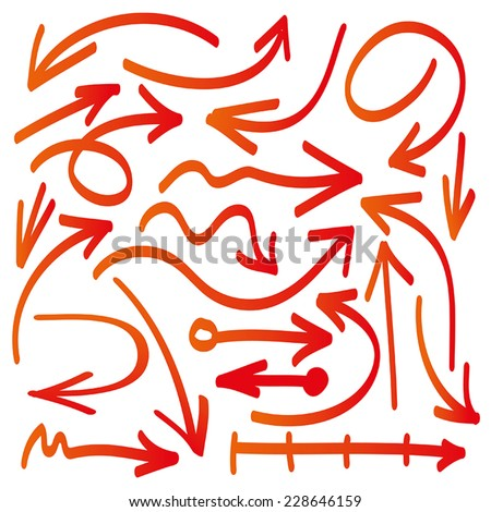 Set of vector hand drawn arrows in red - stock vector