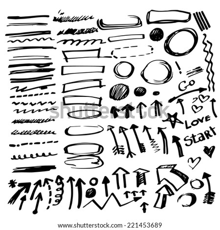 Set of vector hand drawn correction elements. Pencil technique. Arrows, underlines, circles and highlighting elements. Signs isolated on white background. Vector illustration. - stock vector