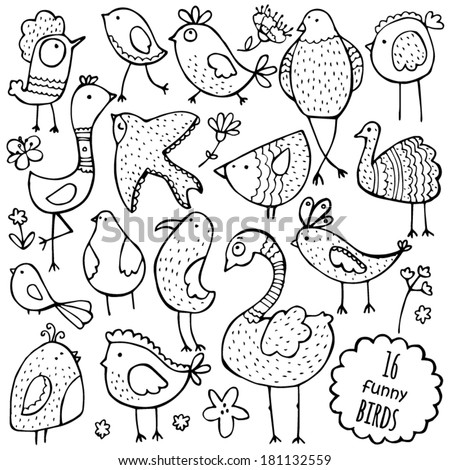 Set of vector hand drawn funny birds. - stock vector