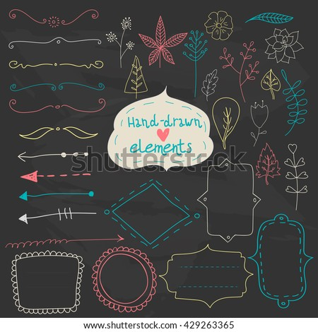 Set of vector hand drawn graphic and floral elements - borders, arrows  and frames in chalk style, black and white design. - stock vector