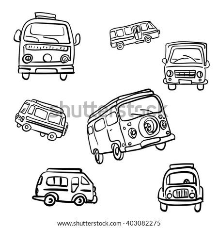 Set of vector hand drawn hippie vans from 60-s - stock vector