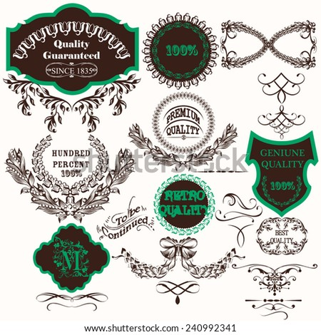 Set of vector hand drawn labels in vintage style - stock vector