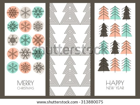 Set of vector hand drawn New Year and Christmas greeting cards. Linear snowflakes, fir tree and watercolor blots background. Trendy design template for holiday, flyer, label, tag, invitation, banner. - stock vector