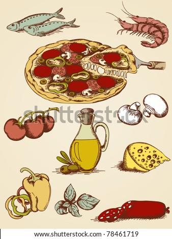 set of vector hand drawn pizza icons