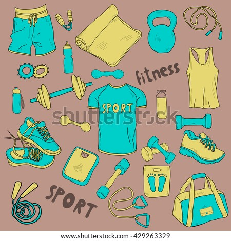 set of vector hand drawn sports equipment. Bright vector illustration.