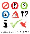Set of vector hand-painted icons - error, forbidden, exclamation, question mark, information sign, ok, cancel - stock photo