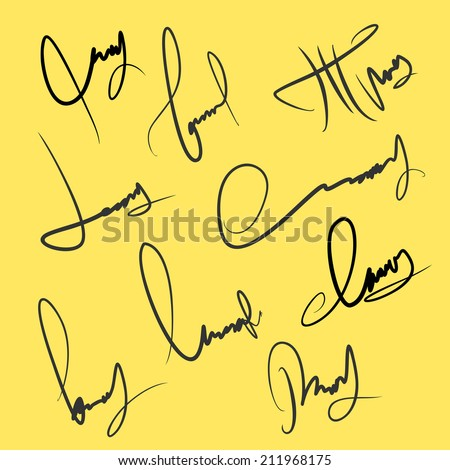 Set of vector hand signature fictional people