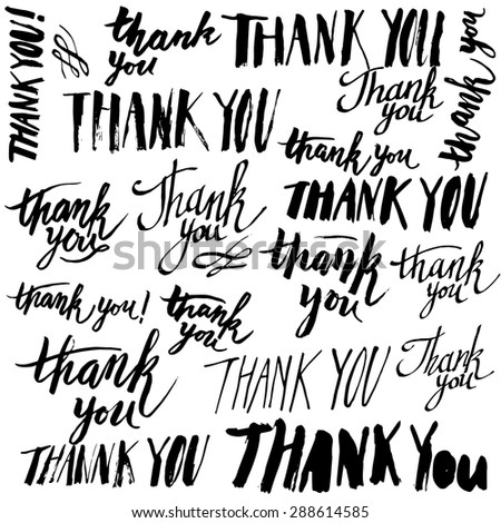 Set of vector handmade lettering signs THANK YOU - stock vector