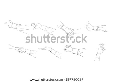 set of vector hands outlines, with different positions and gestures  - stock vector