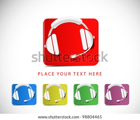 Set of vector headset web icon design element. - stock vector