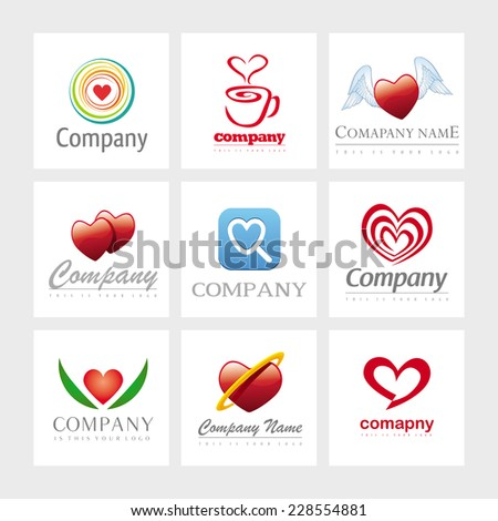 Set of 9 vector heart elements for logo design - stock vector