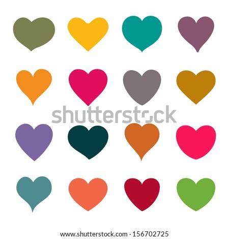 Set of vector hearts - stock vector