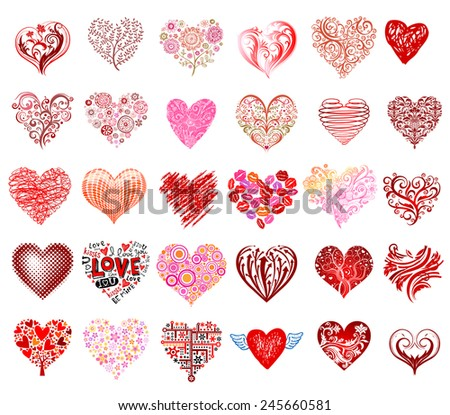 Set of 30 vector hearts, different styles. - stock vector