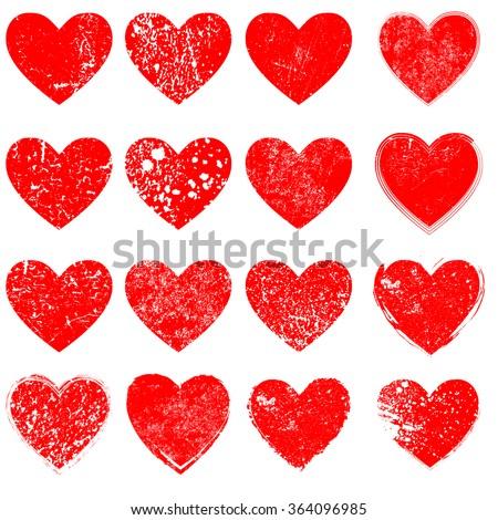 Set of Vector Hearts . Grunge Heart . Red Heart . Heart Shape. Distressed Heart . Heart Texture. Valentine's Day Heart . Heart Background . Brush Stroke Heart . Vector Heart . - stock vector
