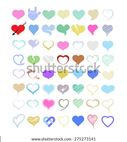 Set of vector hearts. Vector illustration. Can use for Valentine day, Wedding. - stock vector