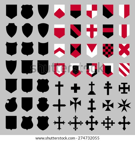 Set of vector heraldic elements - shield's shapes, shield's compositions and crosses. EPS 8, CMYK