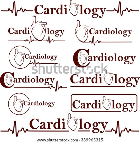 Set of vector human heart medical symbol of cardiology - stock vector
