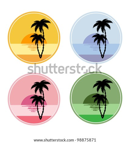 set of vector icon with sun and palm trees - stock vector