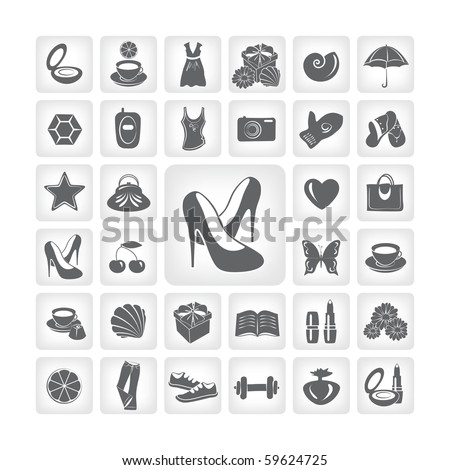 set of vector icons, accessory theme