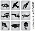 set of vector icons. Air transport and flying machines - stock vector