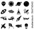 set of vector icons. Air transport, flying machines and space - stock vector