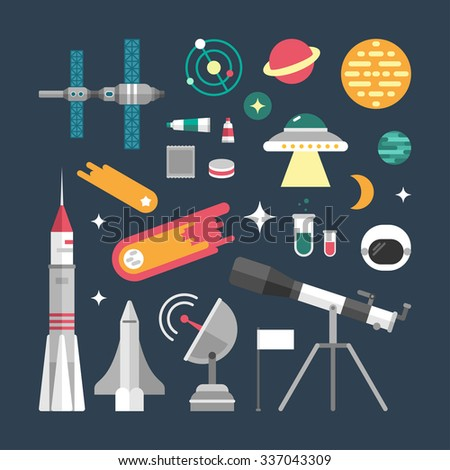 Set of Vector Icons and Illustrations in Flat Design Style. Planets, Rockets, Stars