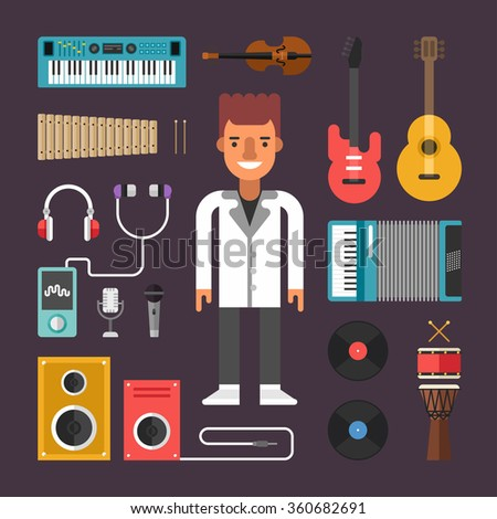 Set of Vector Icons and Illustrations in Flat Design Style. Profession Musician. Male Cartoon Character Surrounded by Musical Instruments - stock vector