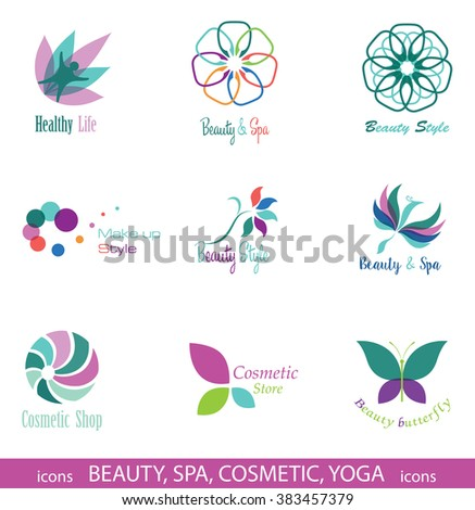 Set of Vector Icons and Symbols for Beauty, Spa, Cosmetic, Yoga, Nature. Design Elements isolated on White Background.  - stock vector
